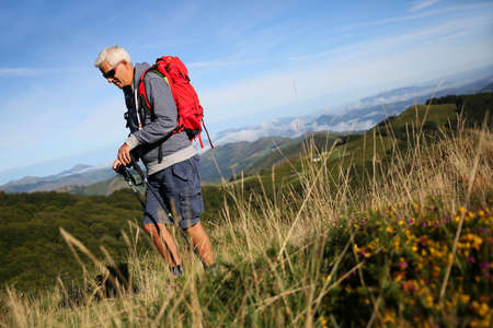 the basque country: Hiker on a journey in Basque country mountains