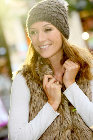 trendy girl: Portrait of trendy girl with winter clothes on