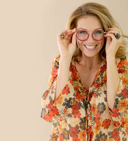 glasses model: Portrait of attractive trendy woman with eyeglasses, isolated Stock Photo