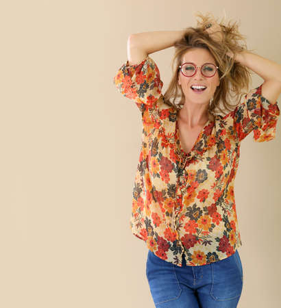 eyeglasses: Attractive trendy woman with red eyeglasses on, isolated