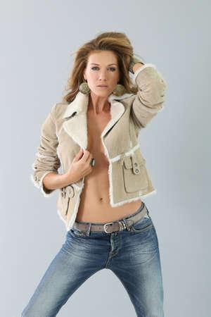 winter fashion: Beautiful fashion woman model, winter season