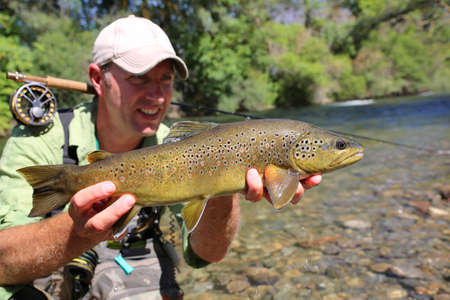 recently: Fly-fisherman holding brown trout recently caught Stock Photo