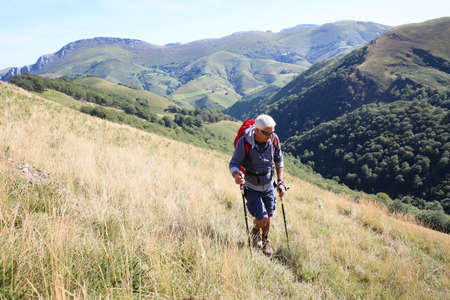 the basque country: trekker on a journey in Basque country mountains