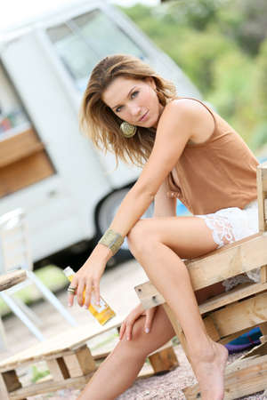 Attractive blond woman with gypsie style Stock Photo