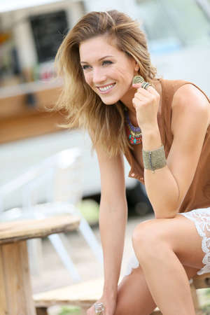 blonde woman: Attractive blond woman with gypsie style Stock Photo