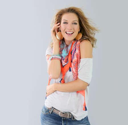 isolated woman: Beautiful fashion woman model, spring season Stock Photo