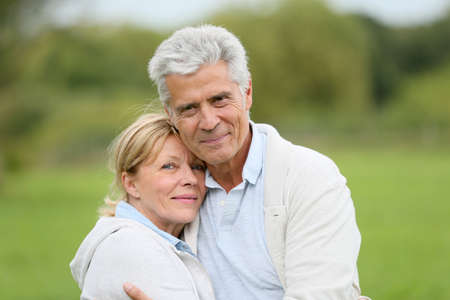 caucasian: In love senior couple embracing each other Stock Photo