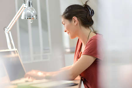 homeoffice: Young woman working on laptop, home-office