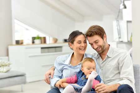 Portrait of happy family at home Stock Photo
