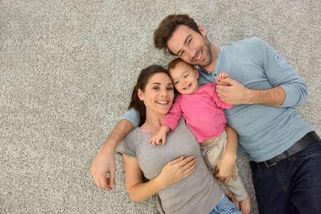 カーペットを置く 3 つの家族の上部のビュー 写真素材 - 47867603