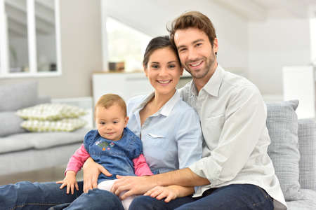 european: Portrait of happy family at home Stock Photo