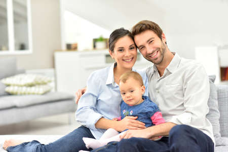 Portrait of happy family at home Foto de archivo