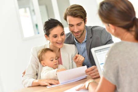 financial advice: Family meeting real-estate agent for house investment