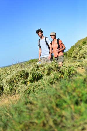 caribbean island: Couple on a trekking day in Caribbean island Stock Photo