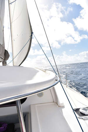 catamaran: Catamaran sailing on Caribbean sea