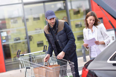 take away: Take away service from grocery store Stock Photo
