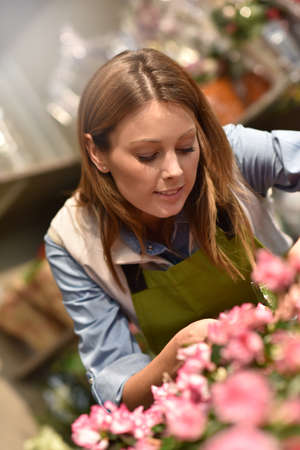 working woman: Woman working in flower shop Stock Photo