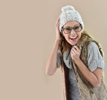 30 to 35 years old: Closeup of woman wearing winter clothes, isolated Stock Photo