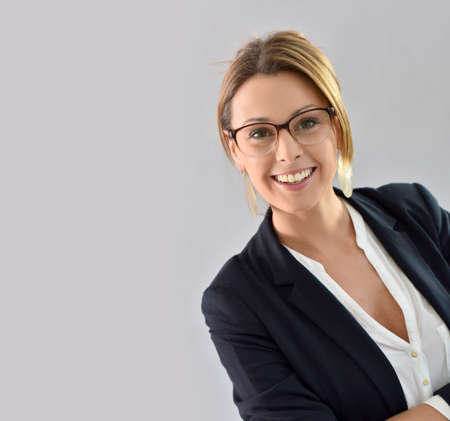 background person: Closeup of beautiful woman with eyeglasses, isolated