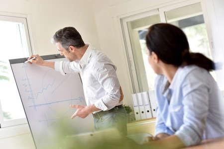Business people attending marketing presentation