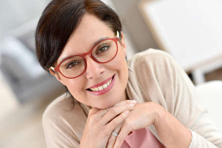 middleaged: Portrait of middle-aged woman wearing eyeglasses