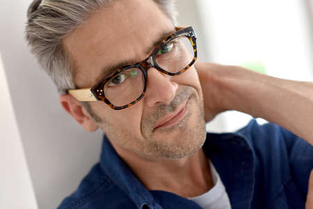 40 to 45 years old: Portrait of handsome mature man with eyeglasses