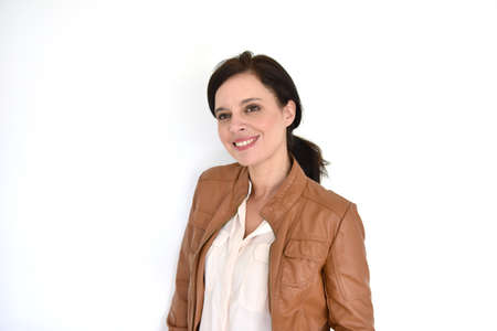 textspace: Smiling attractive brunette woman on white background
