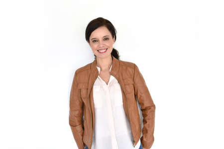 45: Smiling attractive brunette woman on white background