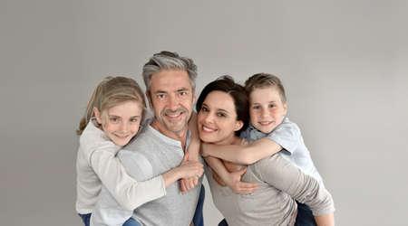 family portrait: Portrait of happy family of 4