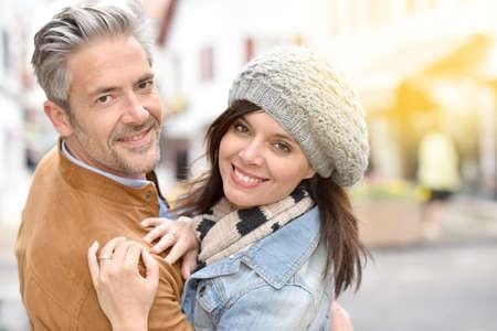 romantic date: Mature couple on a romantic date Stock Photo