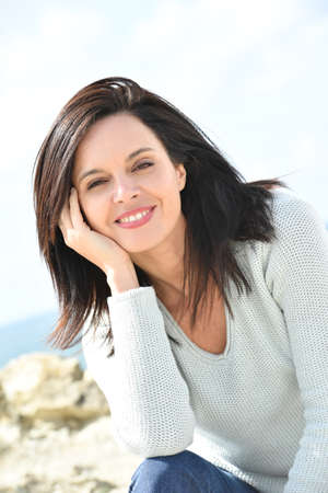 woman beautiful: Portrait of attractive middle-aged woman