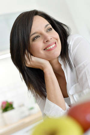 Portrait Of Smiling Mature Dark-haired Woman Stock Pto, Picture ...