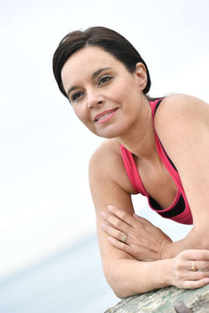 mature women: Portrait of mature woman in fitness outfit Stock Photo