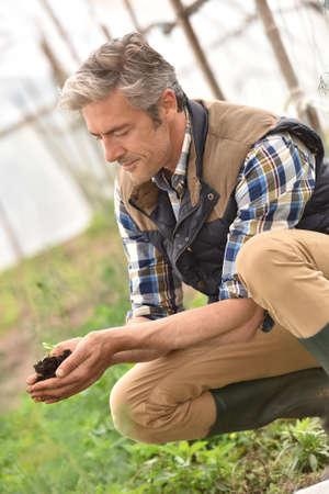 knelt: Farmer using loam to plant new seeds