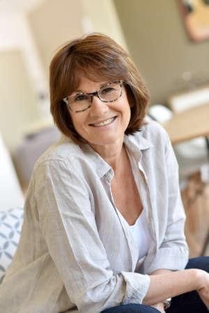 senior woman: Portrait of smiling senior woman Stock Photo