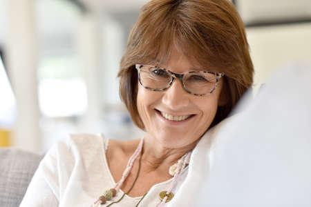 woman portrait: Portrait of smiling senior woman Stock Photo