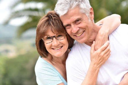 happy senior: Portrait of happy senior retired couple Stock Photo