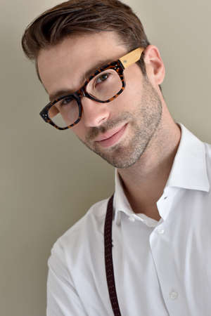 suspenders: Stylish guy with eyeglasses and suspenders Stock Photo