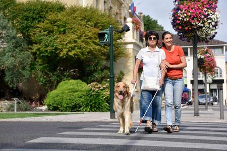Senior blinde vrouw het oversteken van de straat met hulp