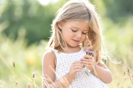 airiness: Portrait of cute little blond girl picking flowers in field Stock Photo