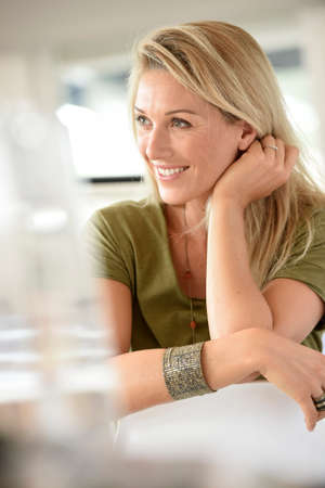 officeworker: Portrait of beautiful blond woman in office