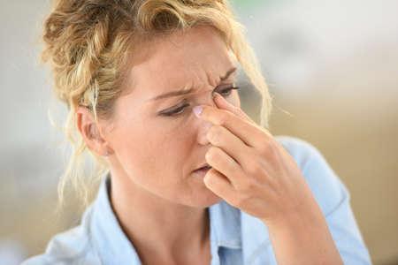Woman suffering sinusitis