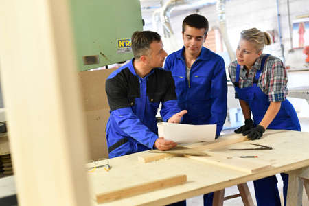 curso de capacitacion: Students in woodwork training course with professional
