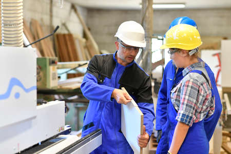 woodwork: Group of students in woodwork training course