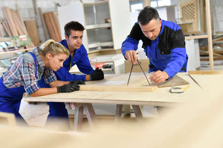 Students in woodwork training course with professional Фото со стока - 65833228