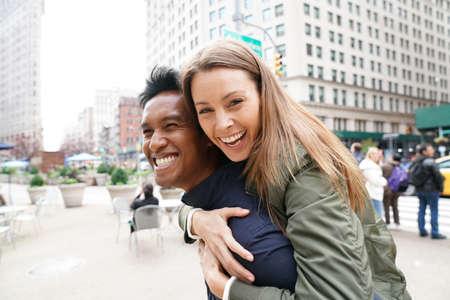 Cheerful couple in New York City street