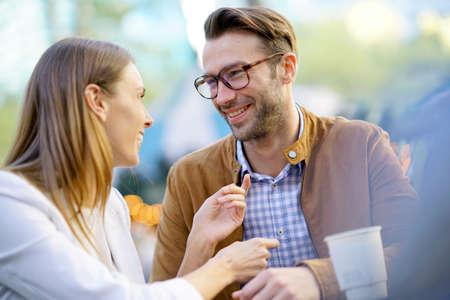 Couple having a date at Bryant Park, Manhattan