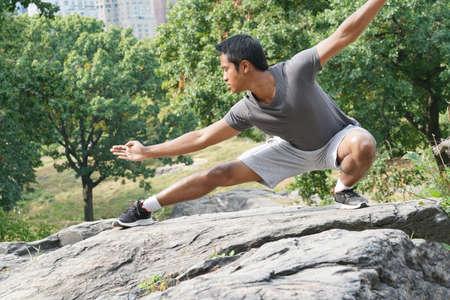 chuan: Man doing martial art exercises at Central Park