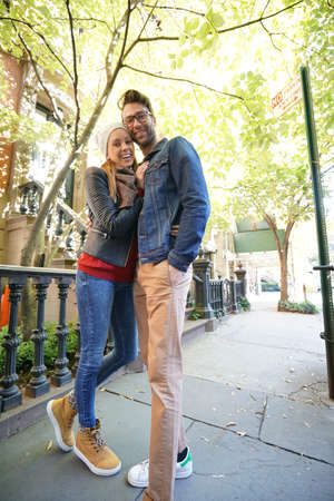 walk in: Trendy in love couple enjoying walk in Greenwich village