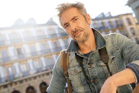 globetrotter: Mature man visiting european city